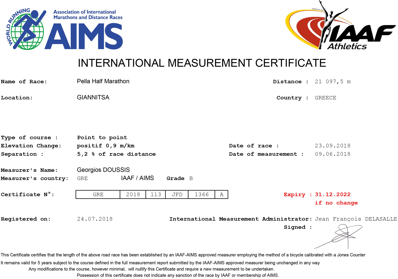 Certificate Pella Half Marathon